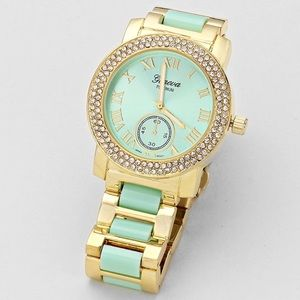 Accessories - Mint & Gold Crystal Watch